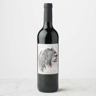 Bearded Collie Wine Label