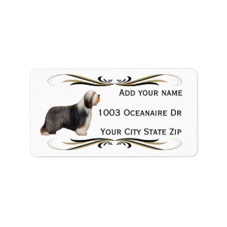 Bearded Collie with Black & Gold Swirl Label