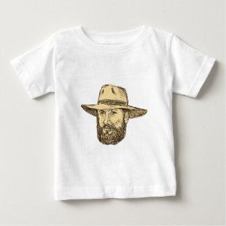 Bearded Cowboy Head Drawing Baby T-Shirt