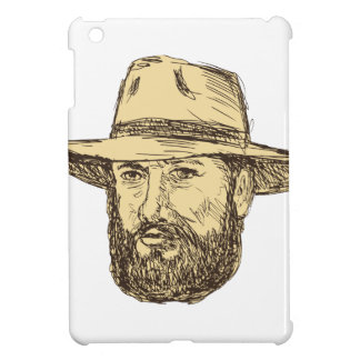 Bearded Cowboy Head Drawing iPad Mini Cases