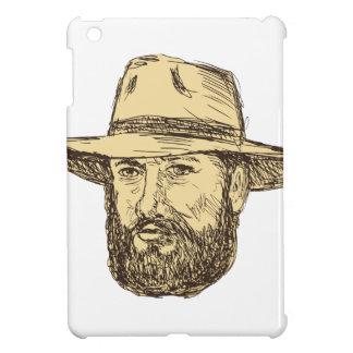 Bearded Cowboy Head Drawing iPad Mini Cover