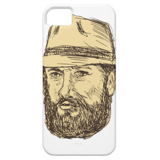 Bearded Cowboy Head Drawing iPhone 5 Cover