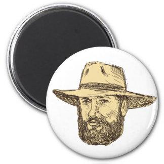 Bearded Cowboy Head Drawing Magnet