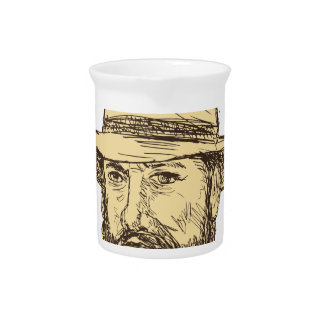 Bearded Cowboy Head Drawing Pitcher