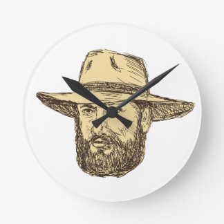Bearded Cowboy Head Drawing Round Clock
