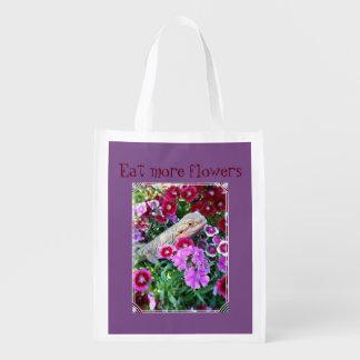 "Bearded Dragon ""Eat more flowers"" Reusable Bag"