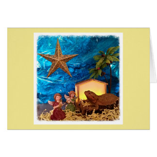 Bearded Dragon in a Manger Christmas Card