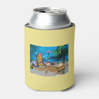 """Bearded Dragon """"Life's a Beach"""" Beer Cozy Can Cooler"""