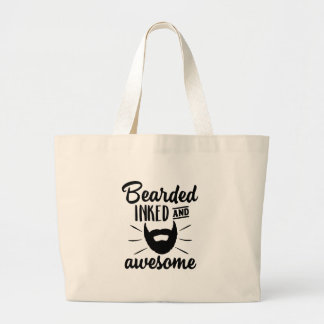 bearded inked and awesome large tote bag