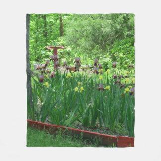 Bearded Iris Fleece Blanket