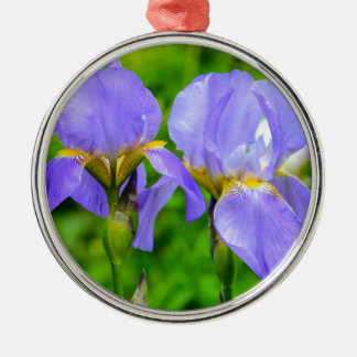 Bearded Iris Silver-Colored Round Decoration