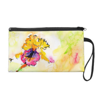 Bearded Iris Watercolor Painting Wristlet