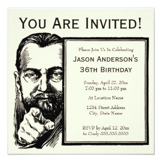 Bearded Man Invitation