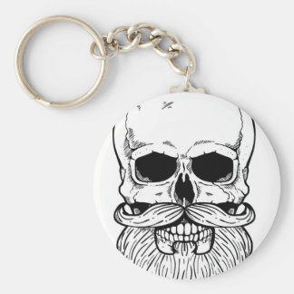 Bearded skull basic round button key ring