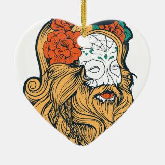 bearded women girl ceramic heart decoration