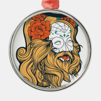 bearded women girl Silver-Colored round decoration