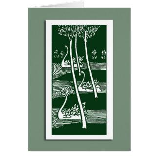 Beardsley Art Nouveau Swans Note Cards