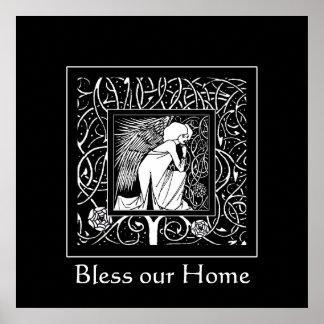 Beardsley Nouveau Angel Blessing Print