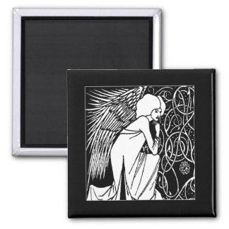 Beardsley Nouveau Angel Square Magnet