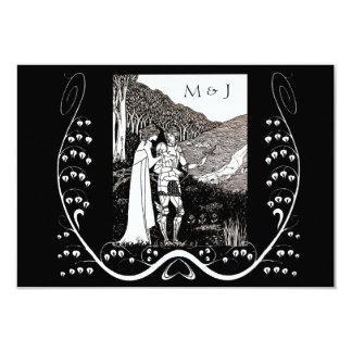 "Beardsley Nouveau Knight & Lady Response Card 3.5"" X 5"" Invitation Card"