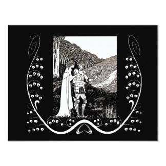"Beardsley Nouveau Knight & Lady Wedding Invitation 4.25"" X 5.5"" Invitation Card"