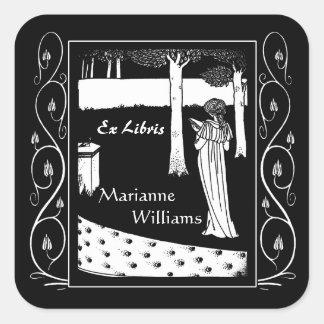 Beardsley Nouveau Lady Reader Bookplate Square Sticker