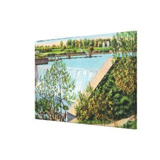 Beardsley Park Water Falls Scene Stretched Canvas Prints
