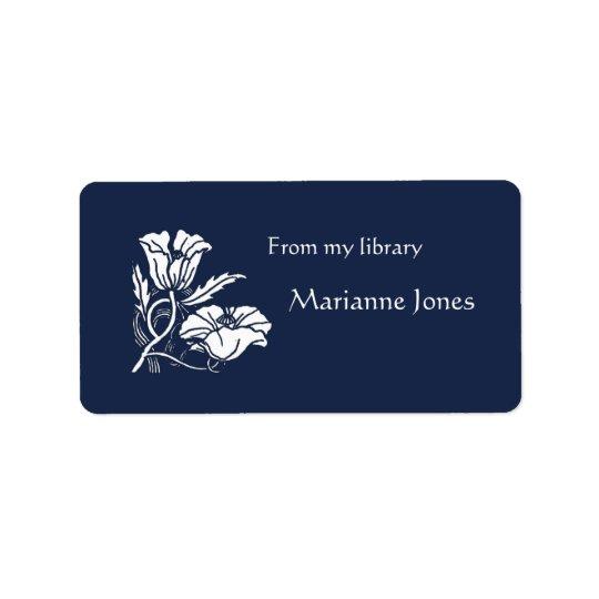 Beardsley Poppies Bookplate Address Label