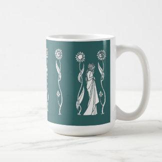 Beardsley Sunflower Lady Mug