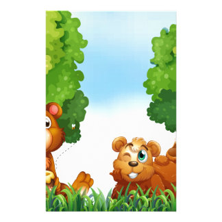 Bears and forest stationery paper