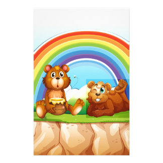 Bears and rainbow personalised stationery