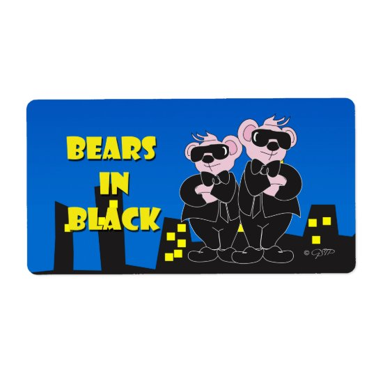 BEARS IN BALCK CARTOON ÉTIQUETTE TAG