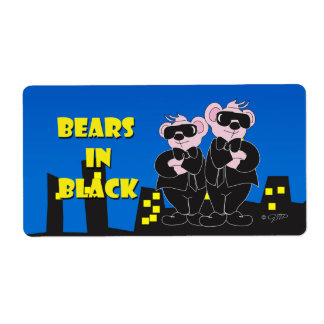 BEARS IN BALCK CARTOON ÉTIQUETTE TAG SHIPPING LABEL