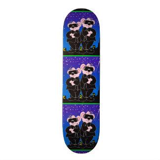 """BEARS IN BLACK ALIEN CARTOON Skateboard 7 7/8"""""""