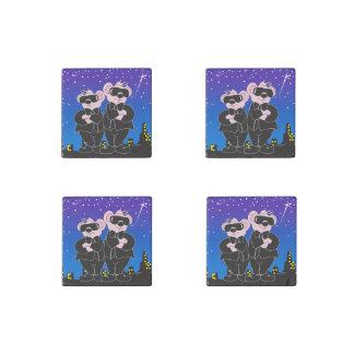 BEARS IN BLACK ALIEN Set of Four Primed Marble Stone Magnet