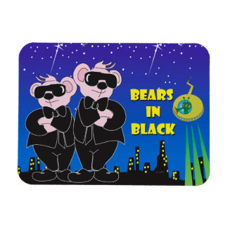 "BEARS IN BLACK CARTOON 3""x4"" Photo Magnet"