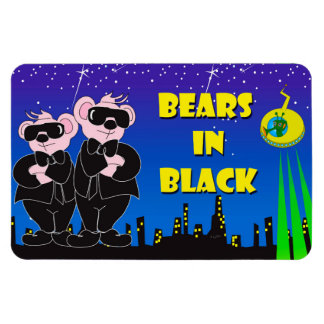"BEARS IN BLACK CARTOON 4""x6"" Photo Magnet"