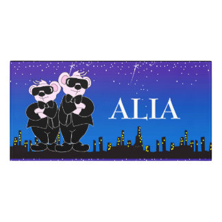 BEARS IN BLACK CARTOON   Classic Room Sign