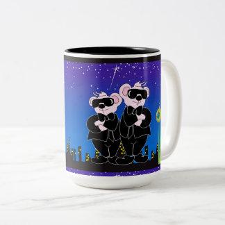 BEARS IN BLACK CARTOON FUN Two-Tone Mug 15 onz