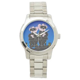 BEARS IN BLACK CARTOON Oversized Silver Bracelet Wrist Watch