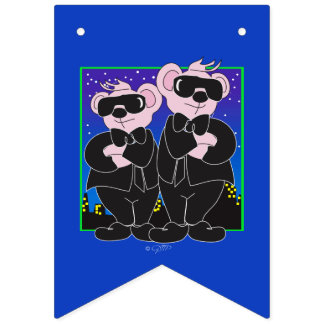 BEARS IN BLACK CARTOON Party Bunting Banner