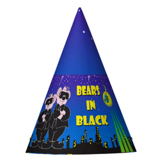 BEARS IN BLACK CARTOON Party Hat