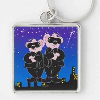 BEARS IN BLACK CARTOON Premium Square Keychain L