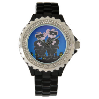 BEARS IN BLACK CARTOON Rhinestone Black Enamel Watch