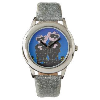 BEARS IN BLACK CARTOON Silver Glitter Watch
