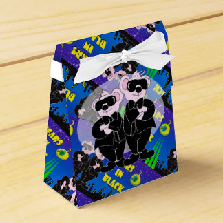 BEARS IN BLACK CARTOON Tent & Ribbon Favor Box