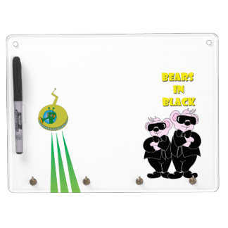 BEARS IN BLACK Keychain holder and Pen (horizontal Dry Erase Board With Key Ring Holder