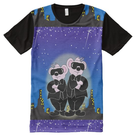 Bears In Black M American Apparel Printed T Shirt All Over
