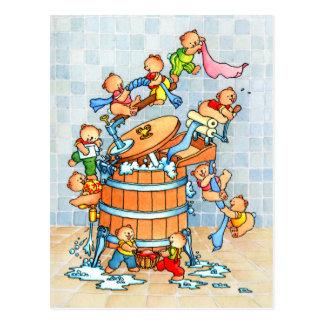 Bears in Washing-tub Postcard