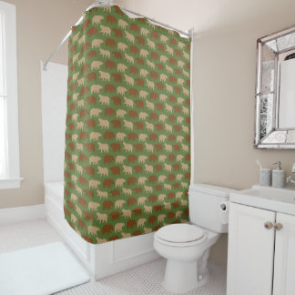 Bears Pattern on Green Shower Curtain